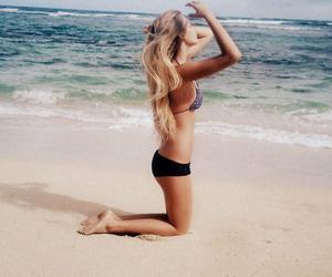 beach, hair, and sea image