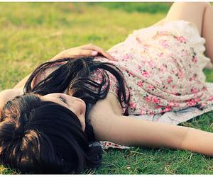 girl, dress, and grass image