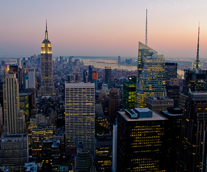 city lights, empire state building, and ny image