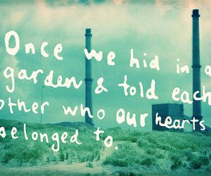 text, heart, and garden image