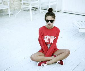 girl, red, and sunglasses image