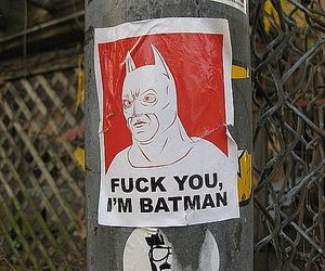 batman, fuck you, and poster image