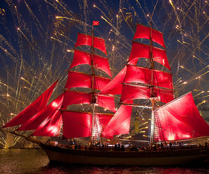 ship, red, and fireworks image