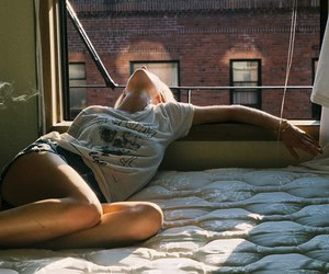 girl, window, and bed image