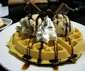 delicious, icecream, and waffles image