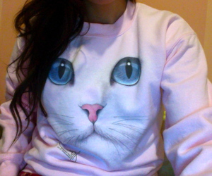 cat, girl, and sweater image