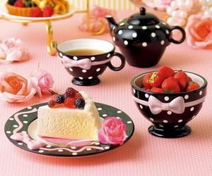 tea, cake, and pink image