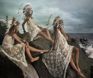 girls, ocean, and rocks image