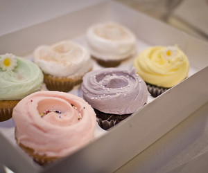 cupcakes, delicate, and pastel colors image