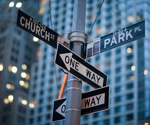 city, new york, and one way image