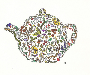 drawing, tea, and teapot image