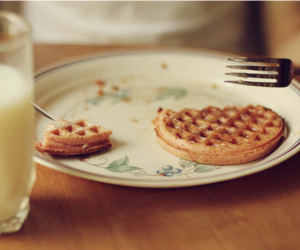food, waffles, and milk image