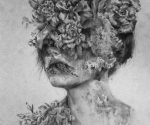 flowers, art, and black and white image