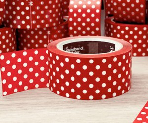 polka dots, red, and tape image