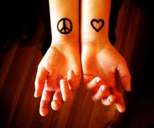 peace, piercing, and tattoo image