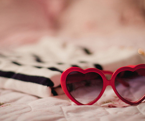 red, heart, and glasses image