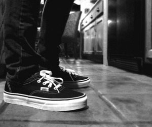 vans, black, and black and white image