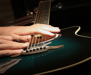 acoustic guitar, blue, and detail image