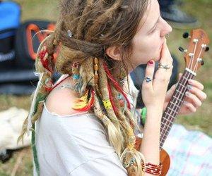 dreads, girl, and guitar image