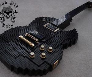 black, lego, and guitar image