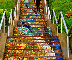 art, stairs, and color image