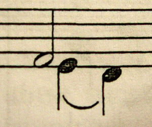 music, notes, and smile image
