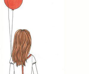 girl, balloons, and drawing image