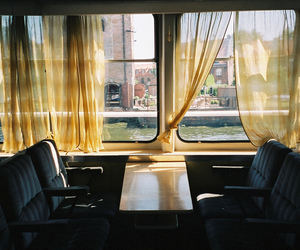 train, window, and vintage image
