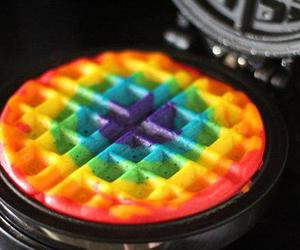 waffles, rainbow, and food image