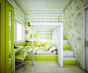 green, room, and bedroom image
