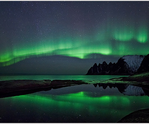 mountains, snow, and northern lights image