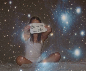 bed, girl, and star image