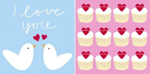 birds, cards, and cupcake image