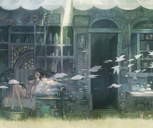 anime, anime girl, and birds image