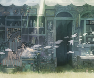 anime, birds, and girl image