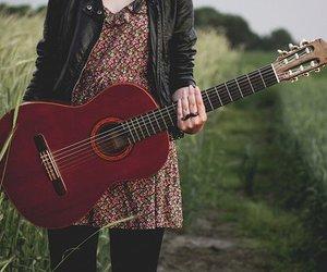 girl, guitar, and dress image