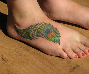 foot, peacock, and tattoo image