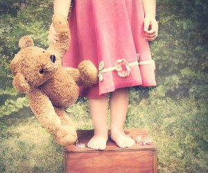 bear, girl, and dress image