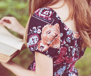 girl, book, and dress image