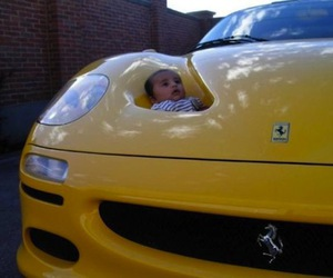 baby, ferrari, and funny image