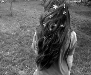 hair, flowers, and black and white image