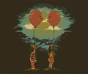art, balloons, and couple image