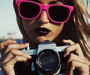 girl, camera, and pink image