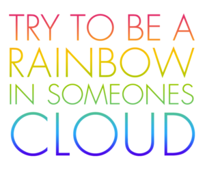 rainbow, cloud, and text image