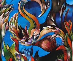 abstract, art, and blue bird image