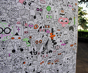 doodle, wall, and tiny faces image