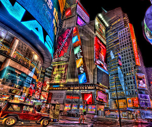 new york, times square, and lights image