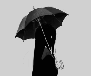 anime, umbrella, and black and white image