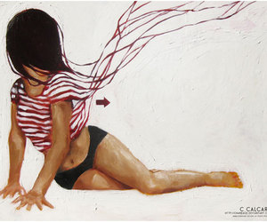 art, girl, and stripes image