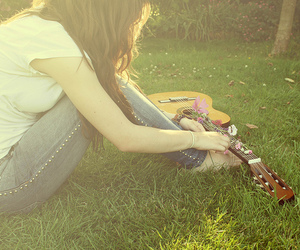 guitar, girl, and flowers image